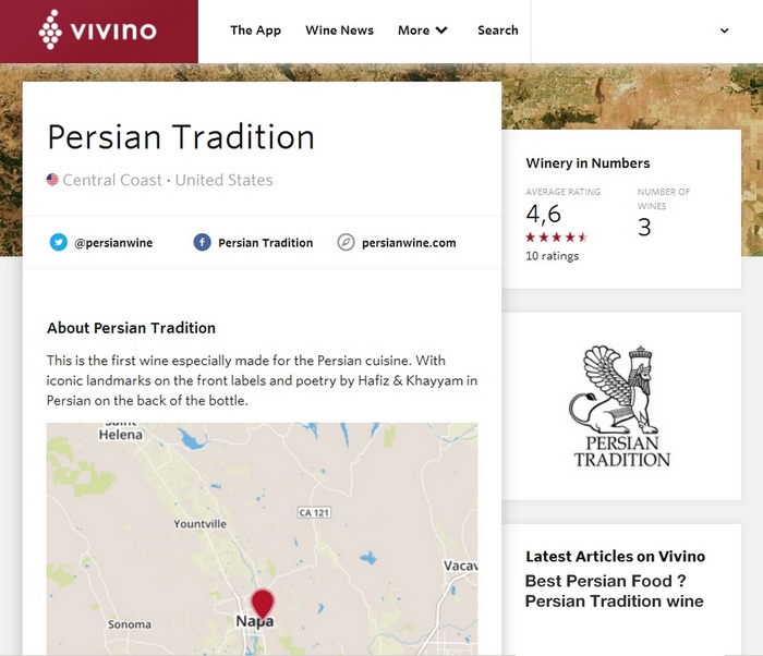 Vivino Rating and Review for Persian Tradition Winery